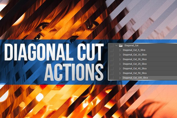 Diagonal Cut Actions For Photoshop