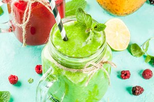 Colorful fruit and veggie smoothies