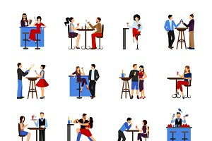 People drinking in bar icons set