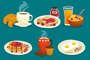 Set of cartoon breakfast icons