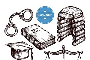 Hand drawn law symbols set