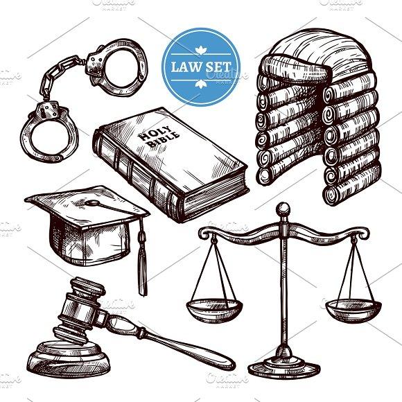 Hand Drawn Law Symbols Set