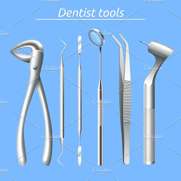 Realistic dentist tools set