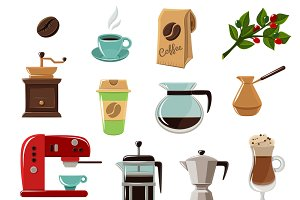 Vintage classic style coffee icons