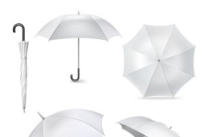 Realistic open closed umbrellas set