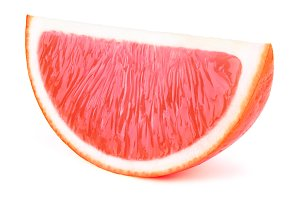 Grapefruit fruit slice isolated on white