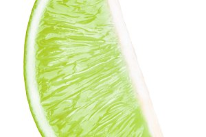 Lime fruit slice isolated on white