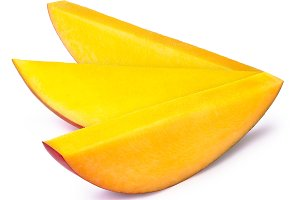 Three mango slices isolated