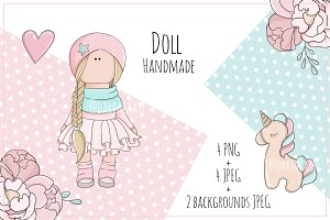 "Illustrations ""Doll Handmade"" Pink"