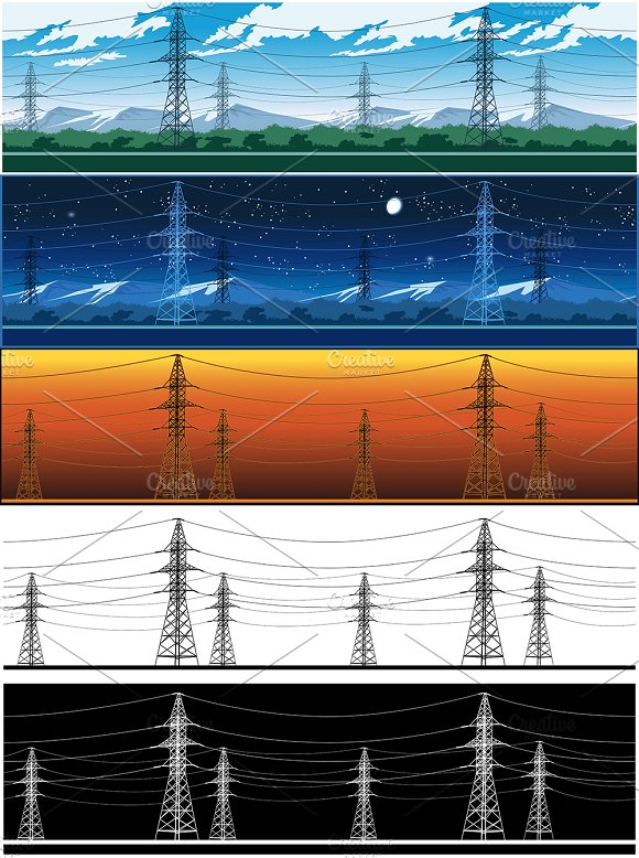 High Voltage Power Lines Set