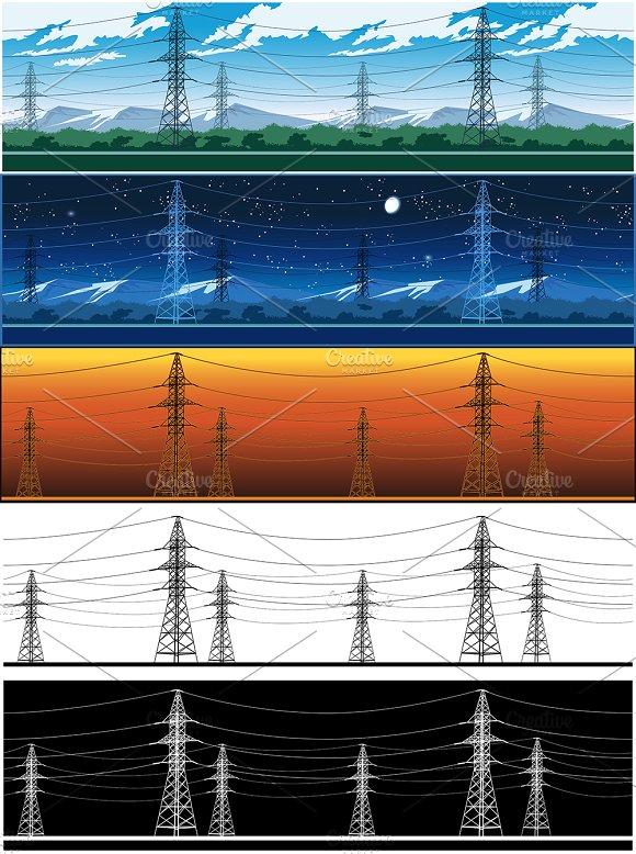 High Voltage Power Lines Set