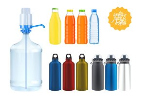 Set of water & juice bottles