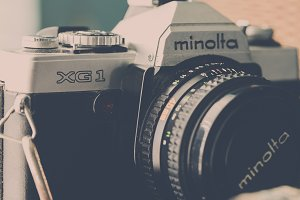 Vintage camera in matte