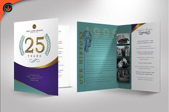 regal church anniversary program brochure templates creative market