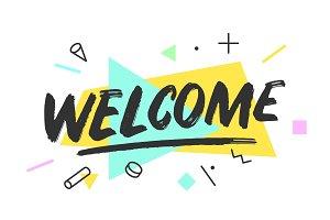 Welcome. Banner, speech bubble