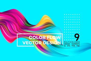 Modern colorful flow design element