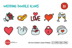 Wedding Doodle Icons Set