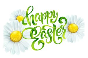 Happy Easter colorful paint lettering Greeting card with daisies. Easter vector background
