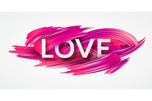 Red hand drawn smear of paint LOVE lettering for card, poster, flyer. Vector illustration