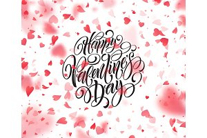 Happy valentines day handwritten text on blurred heart background. Vector illustration
