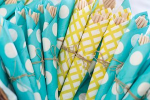 Blue and yellow cutlery napkins