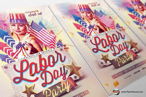 Labor Day PSD Flyer Template in Flyer Templates - product preview 2