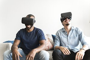 Men experiencing with vr headset