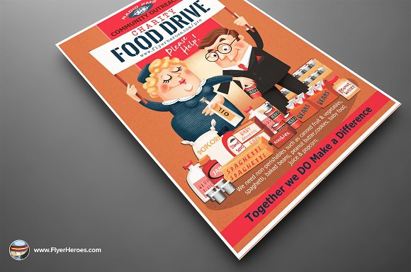 Charity Food Drive Flyer Template Flyer Templates Creative Market
