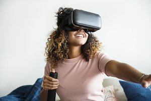 Woman experiencing with vr headset