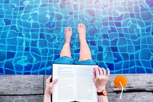 Reading Book at the Poolside
