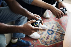 Friends playing game together