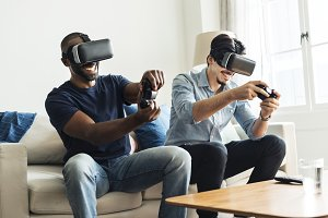 Men experiencing virtual reality