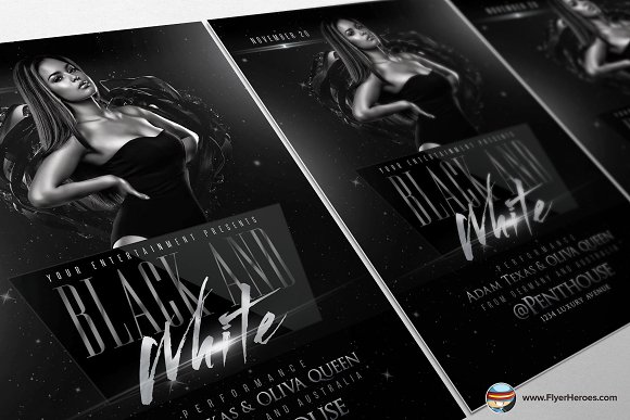 Black And White Flyer Template Flyer Templates Creative Market