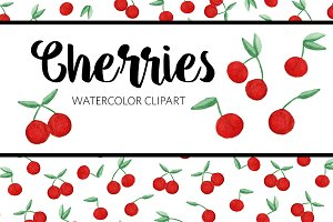 Cherry Watercolor Clipart