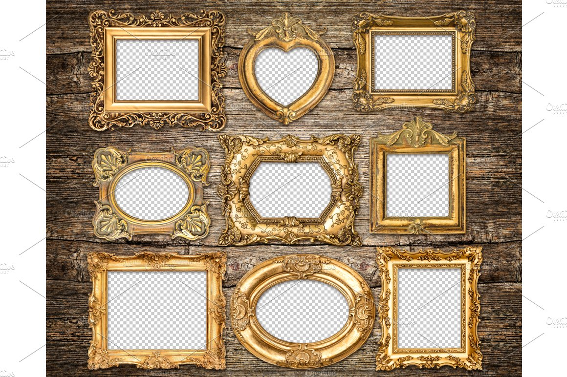 Baroque style golden frames png graphic objects for Small vintage style picture frames