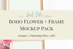 Boho Flower + Frame Mockup Pack