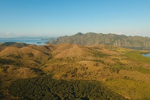 Tropical landscape, mountains, forest, bay. Busuanga, Palawan, Philippines.