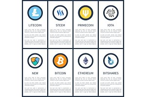 Cryptocurrency Symbols with Sample Texts Posters
