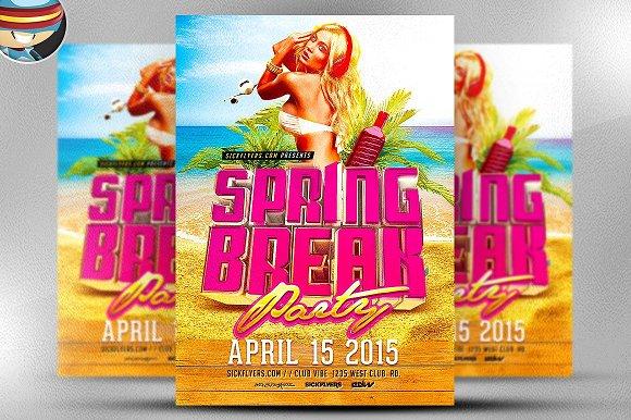 3D Spring Break Flyer Template