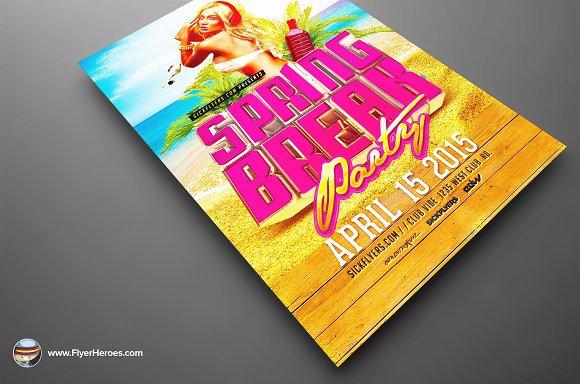 3d Spring Break Flyer Template Flyer Templates Creative Market