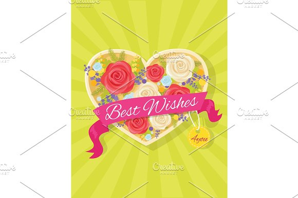 Best Wishes Bright Poster Vector Illustration