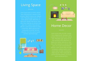 Living Space Home Decor Set Vector Illustration