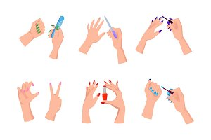 Female Hands with Bright Manicure and Nail Files
