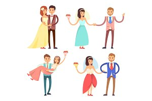 Newlyweds Celebration Set Vector Illustration