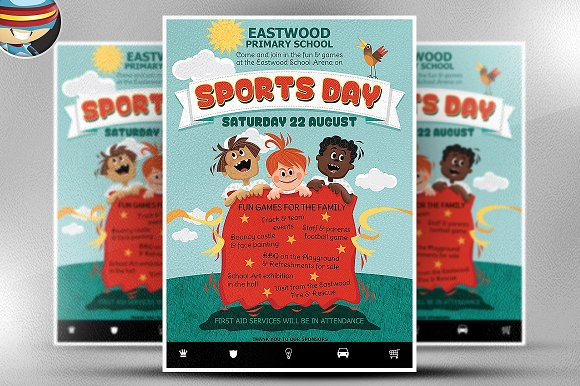 Kids Sports Day Flyer Template Flyer Templates Creative Market
