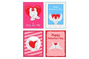 White Doves Couples with Heart Illustrations Set