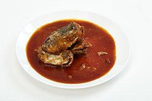 Mackerel in Tomato Sauce on white