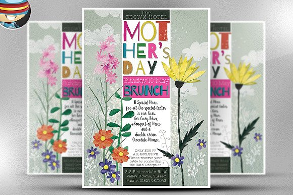 MotherЎЇs Day Watercolour Flyer Templ