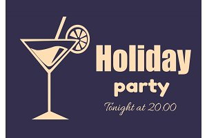 Holiday Party Invitation Poster Tonight at 20.00