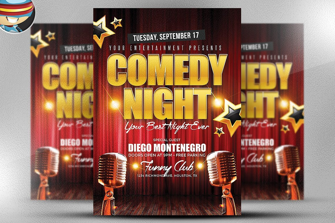 Comedy Night Flyer Template ~ Flyer Templates ~ Creative Market